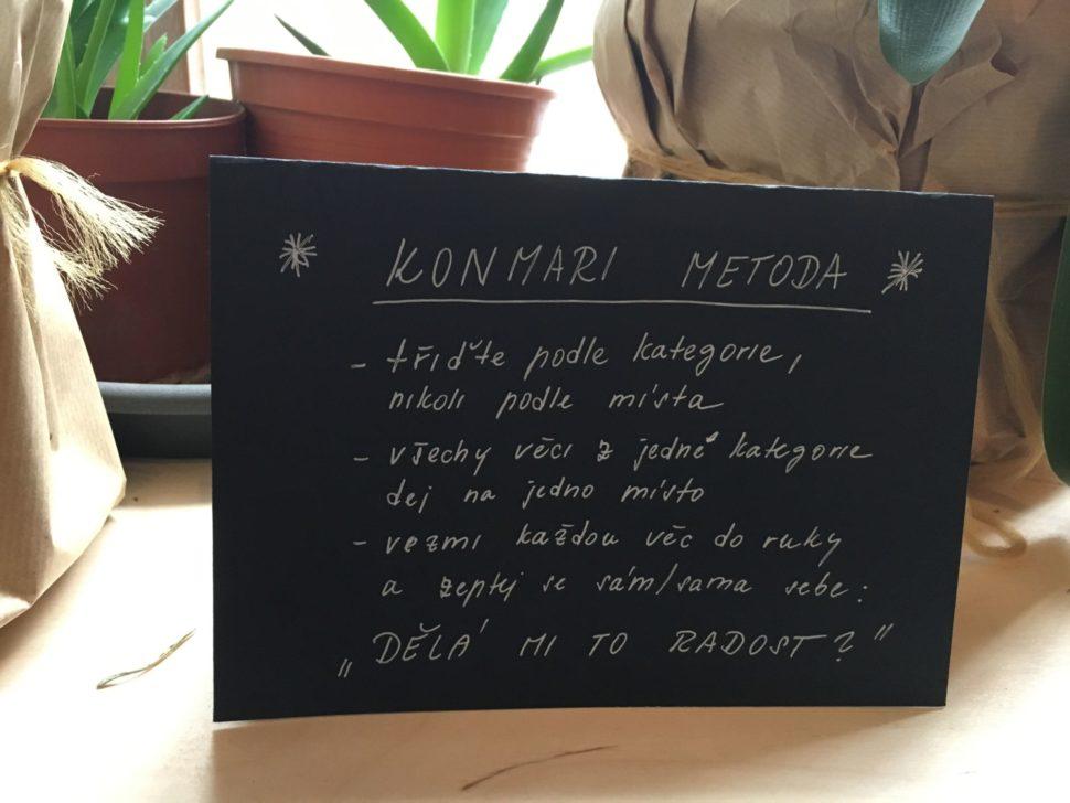 Vysvětlení KonMari metody cedulka